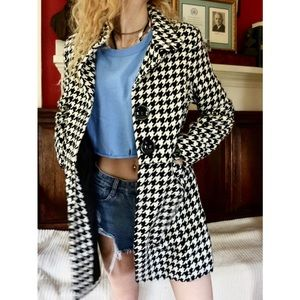 Last Kiss Houndstooth Button Up Peacoat Jacket !